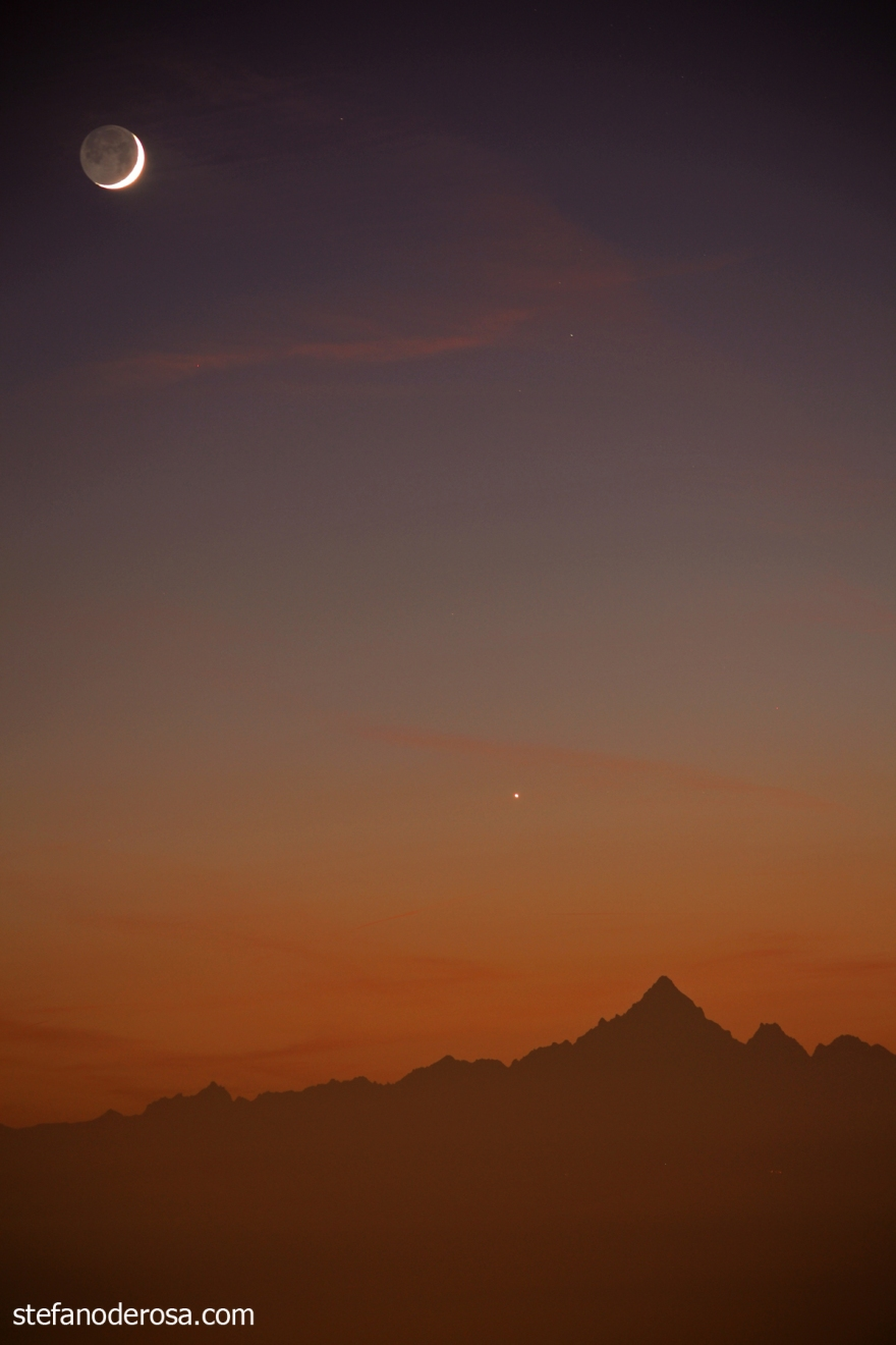 Moon and Venus over the Monviso