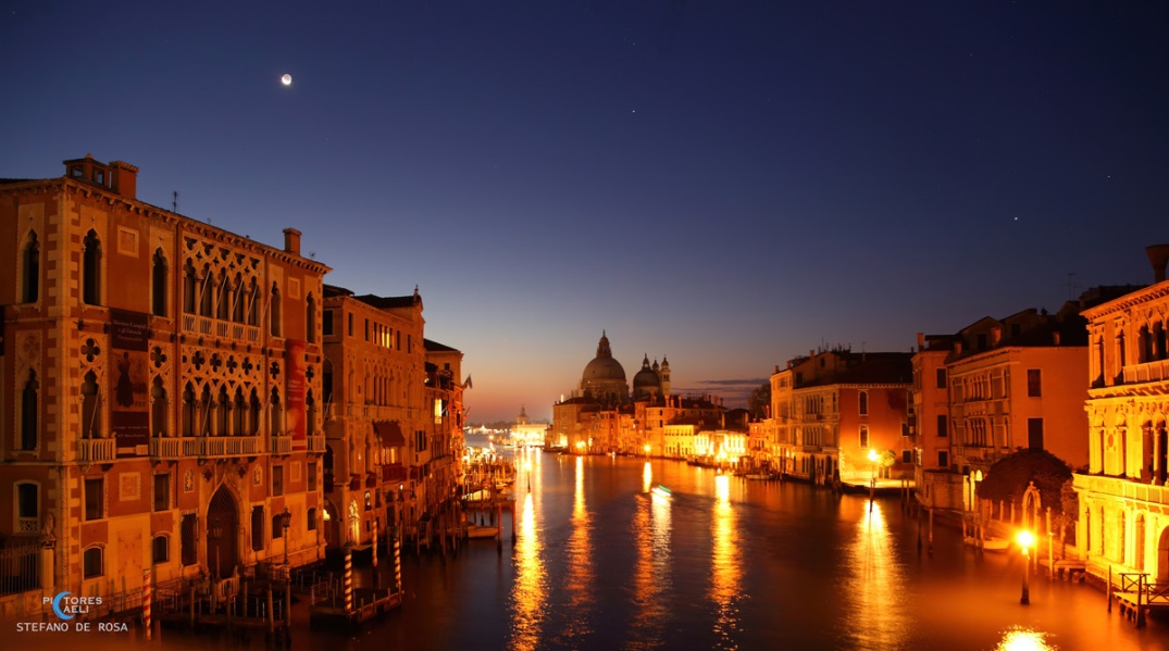 Crescent Moon over The Gran Canal